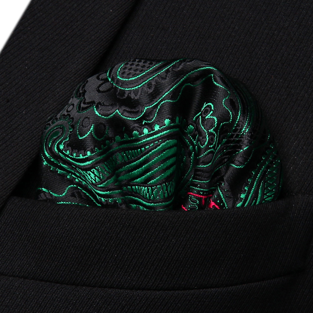 HP932G Green Red Paisley Men Silk Party Handkerchief Pocket Square Hanky