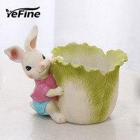 YeFine Creative Resin Flower Pot Cute Cartoon Rabbit Succulent Plant Home Decoration Bonsai Planter Nursery Pots