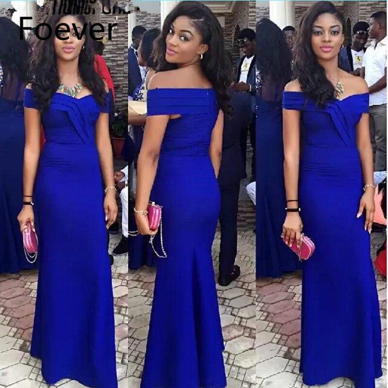Robes de soirée bleu Royal épaule dénudée col en V volants plis sirène robe de bal en taffetas de haute qualité robe formelle 2019