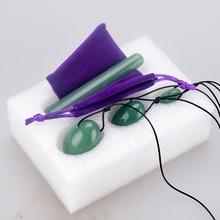 лучшая цена Drilled Green Aventurine Yoni Egg Wand Set Natural Stone Massage Kegel Exercise Viginal Ben Wa Ball Pleasure Stick Jade Massager