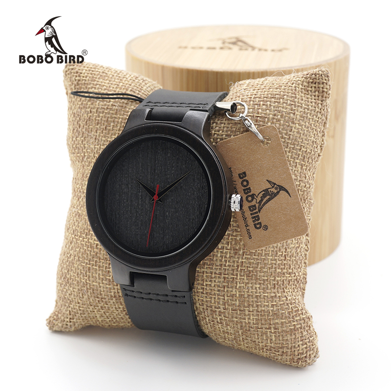 BOBO BIRD Men's Ebony Wood Design Watches With Real Leather Quartz Watch for Men Brand Luxury Wooden Bamboo Wrist Watch bobo bird wh05 brand design classic ebony wooden mens watch full wood strap quartz watches lightweight gift for men in wood box