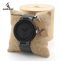 BOBO BIRD Men's Ebony Wood Design Watches With Real Leather Quartz Watch for Men Brand Luxury Wooden Bamboo Wrist Watch