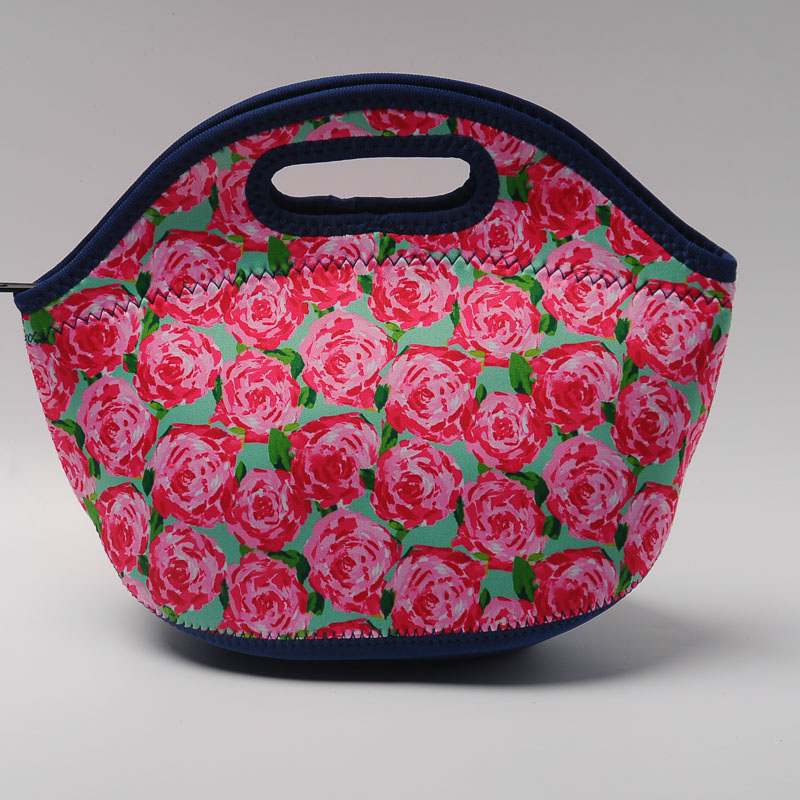 Lilly Lunch Bag Neoprene Food Carrier with Zipper Closure Crown Jewel Rose  Printing DOM356 295529173af4