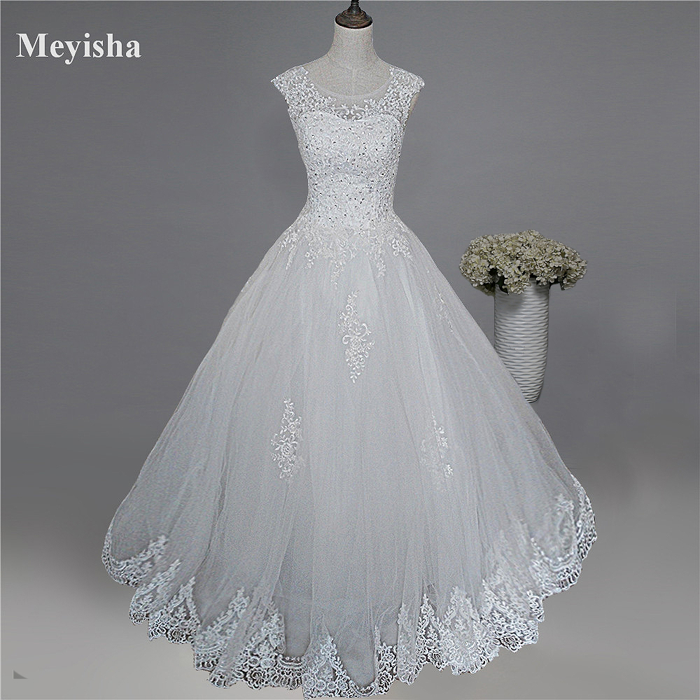 ZJ9128 2019 New Style Fashion White Ivory Wedding Dresses For Brides Plus Size Maxi Formal Sweetheart With Lace Edge