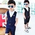 2017 del verano del bebé traje de caballero de los muchachos ropa de bebé estilo europeo formal dress trajes de boda cumpleaños fiesta de disfraces b005