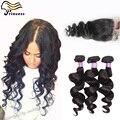 Дешево шелк база с 3 связки бразильского распущенные волосы волны с необработанные девственных человеческого волоса переплетения с закрытием