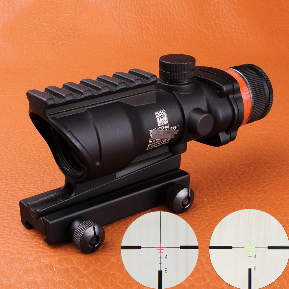 ohhunt Hunting 4X32 Scope Real Fiber Optic Red Green Illuminated Weaver Picatinny Rail Mount Tactical Riflescope For Air Gun tactical 2x28 rifle scope green optical fiber dot sight riflescope hunting shooting for 20mm weaver picatinny rail mount