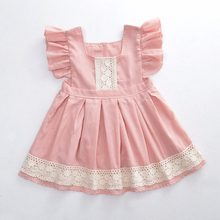 Europe and the United States summer girl baby lovely lotus root pink dress children Princess spliced lace sleeve baby dress(China)