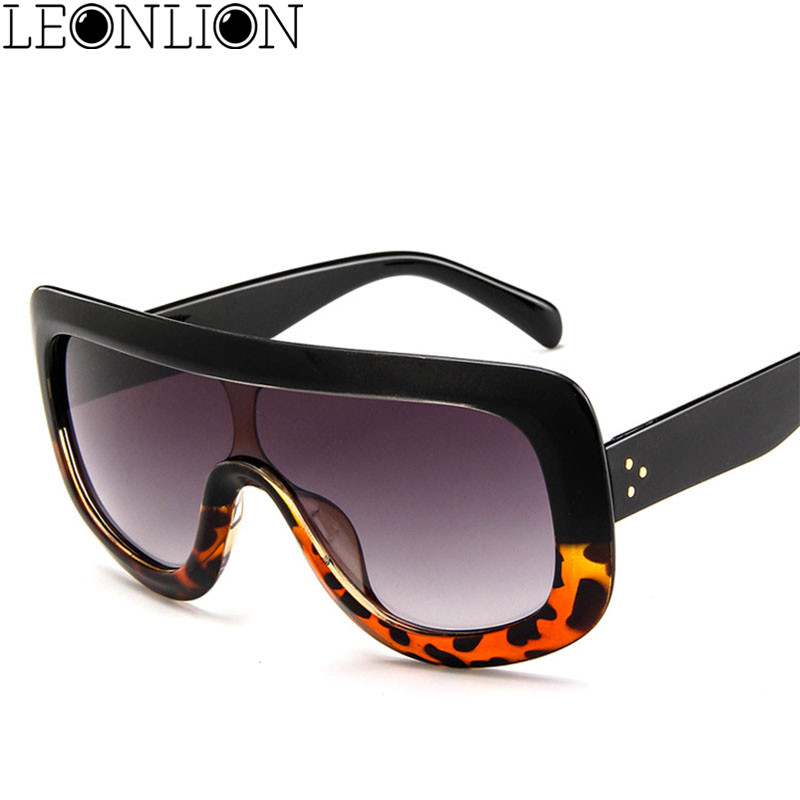 Women Oversized Sunglasses Vintage Luxury Brown Black Red Orange Eyewear Uv400