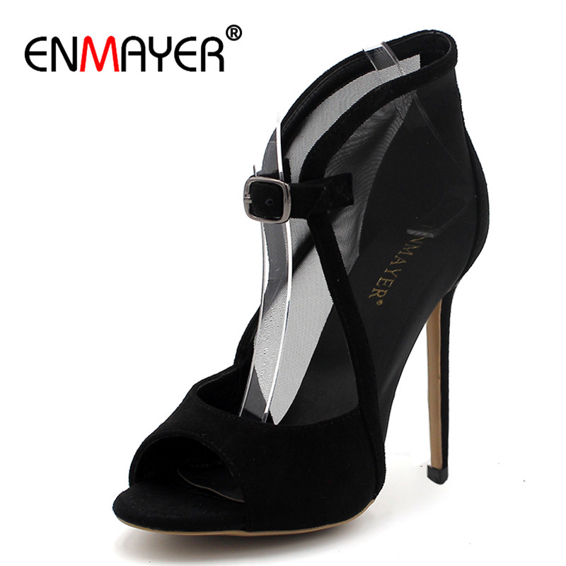 ENMAYER Sexy Grenadine Red Party Wedding High Heels Pumps Thin Heels Peep Toe Plus Size 34-43 Womens Shoes Pumps Two Pieces enmayer pointed toe sexy black lace party wedding shoes woman high heels shallow pumps plus size 35 46 thin heels slip on pumps