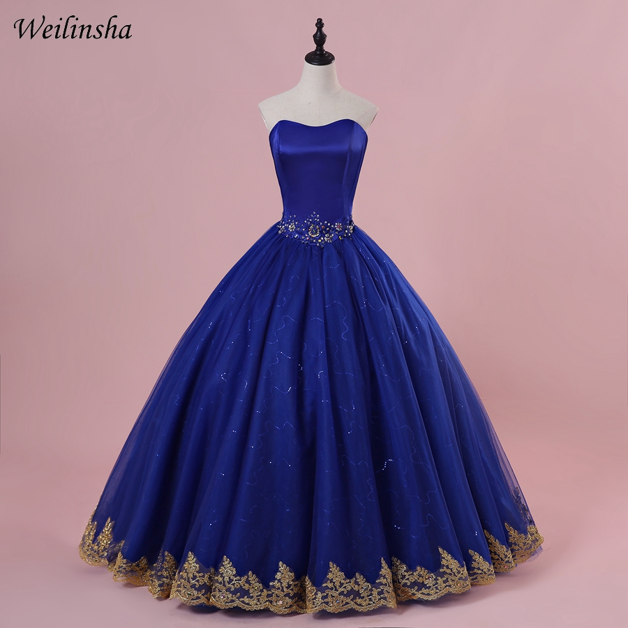 Weilinsha Charming Royal Blue Quinceanera Dresses with Gold Appliques Floor Length Tulle Beading Sweet 15 Dress