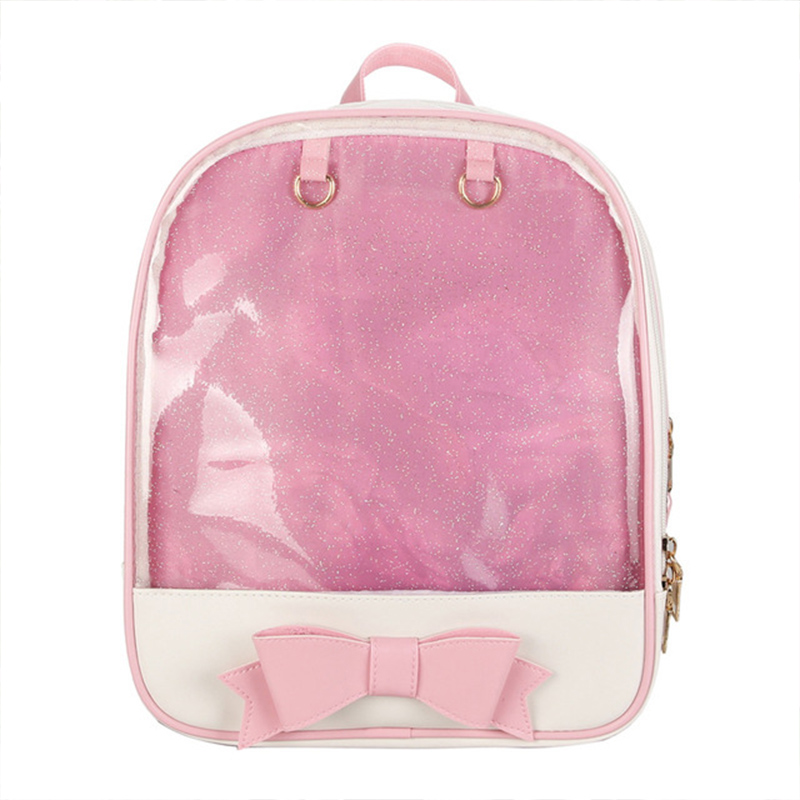 2019 Transparent Backpack Women PU Leather Jelly Color Clear PVC For Teenage Girls Multi-Function Mini Backpack Female Ita Bags