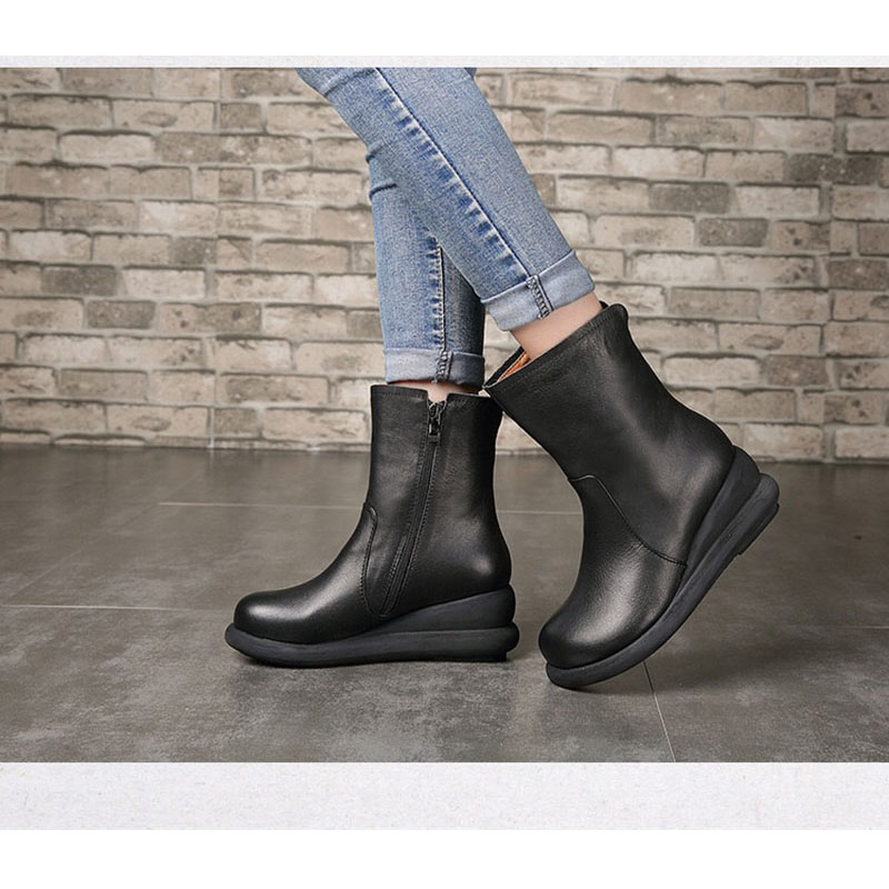 2018 BANGNIFAMILY High Quality Real Leather Women Handwork Lady Shoes With Zip Vintage Casual High shoes (China)