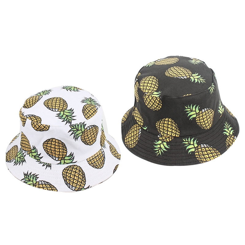 Efficient Spring And Summer Fruit Pineapple Double-sided Fisherman Hat Folding Panama Hat Male Ladies Fishing Bucket Cap Blue Black White