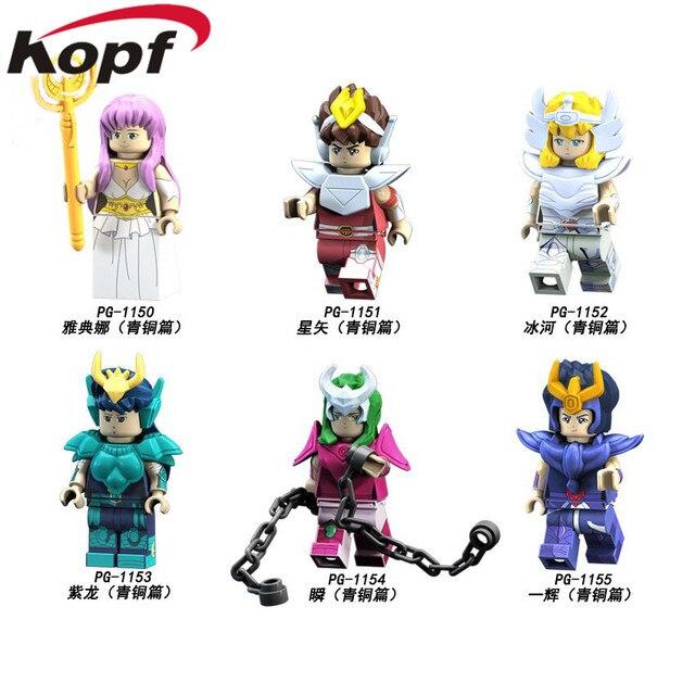 PG8128 Saint Seiya Super Heroes knights of the zodiac Athena Shiryu Glacier Tutankhamu Bricks Building Blocks Children Gift Toy