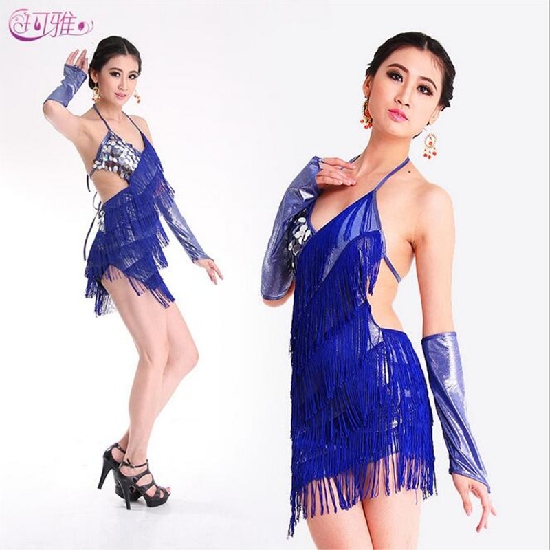 Latin Dance Dress Sexy Nightclubs Costumes For Women Dancing Dresses Hip-Hop Sequined Fringe Performance Latin Dress For Sale