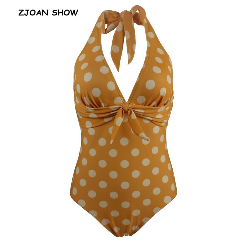 2019 Sexy Bow Bandage Halter V Collar Tide Bow Polka Dot Print <font><b>One</b></font> <font><b>piece</b></font> <font><b>Swimwear</b></font> <font><b>Women</b></font> Retro Backless Slim fit Swimsuit <font><b>Yellow</b></font> image