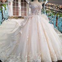 LS00189 wedding dress lace flowers vestidos de novia 2018 short sleeves crystal Sweetheart gelinlik trouwjurk robe mariage