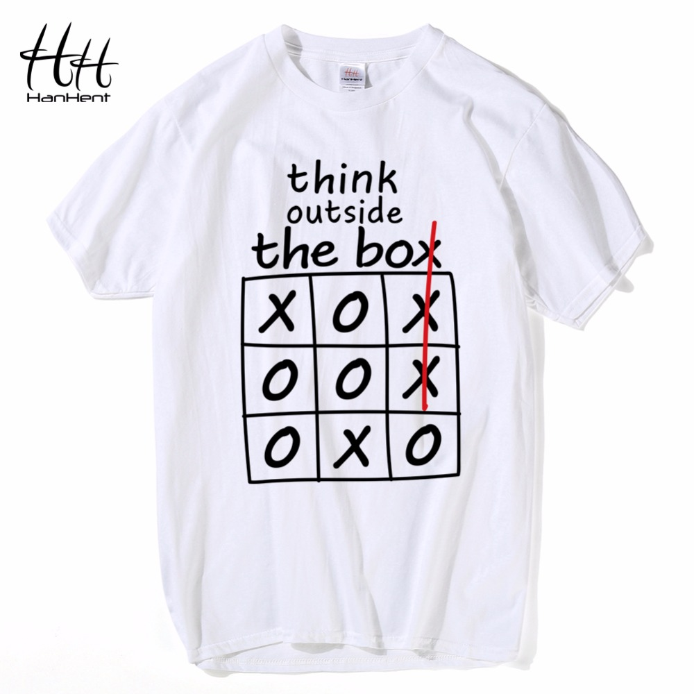 HanHent think outside the box T-shirts Creative Cotton Summer Mens Tee Shirts Bodybuilding 2018 Streetwear Funny T shirts Boys
