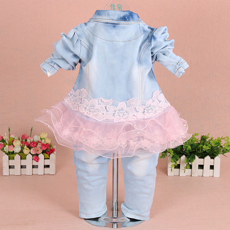 924cbedc1 Baby Girl Clothes Set 2018 Brand Costume for Girl Lace Floral Denim Jacket+T-.  sku: 32743189518