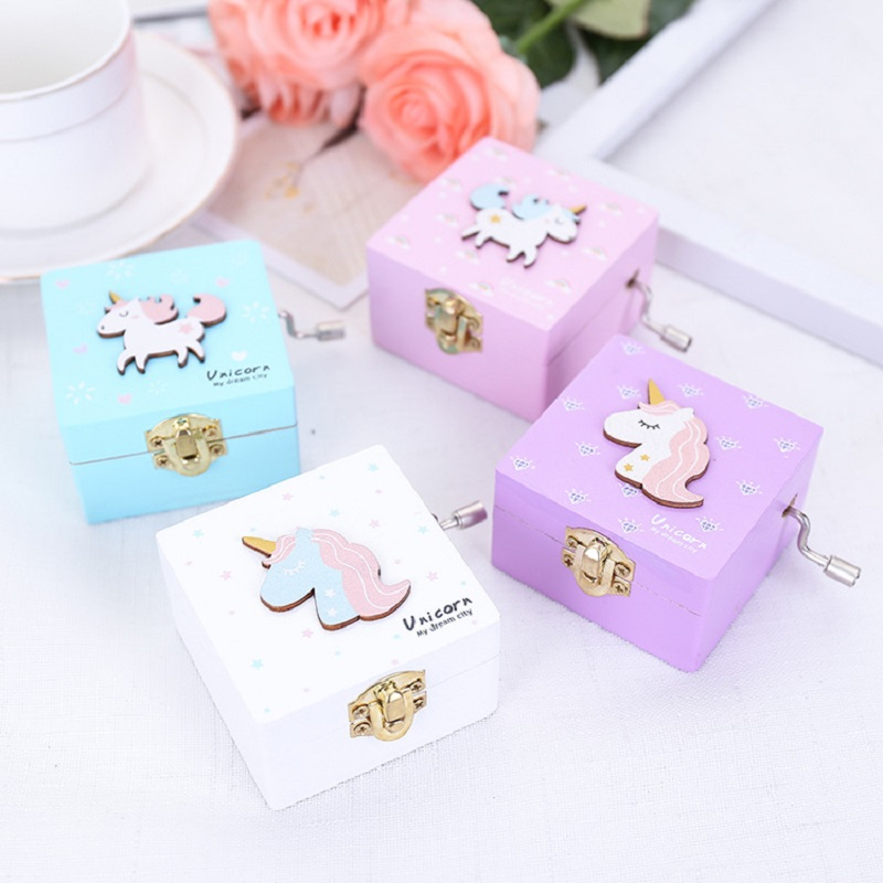 Macaron Colors Unicorn Wooden Music Box Hand-Cranked Girls Jewelry Musical Special Souvenir Gift for Girlfriend