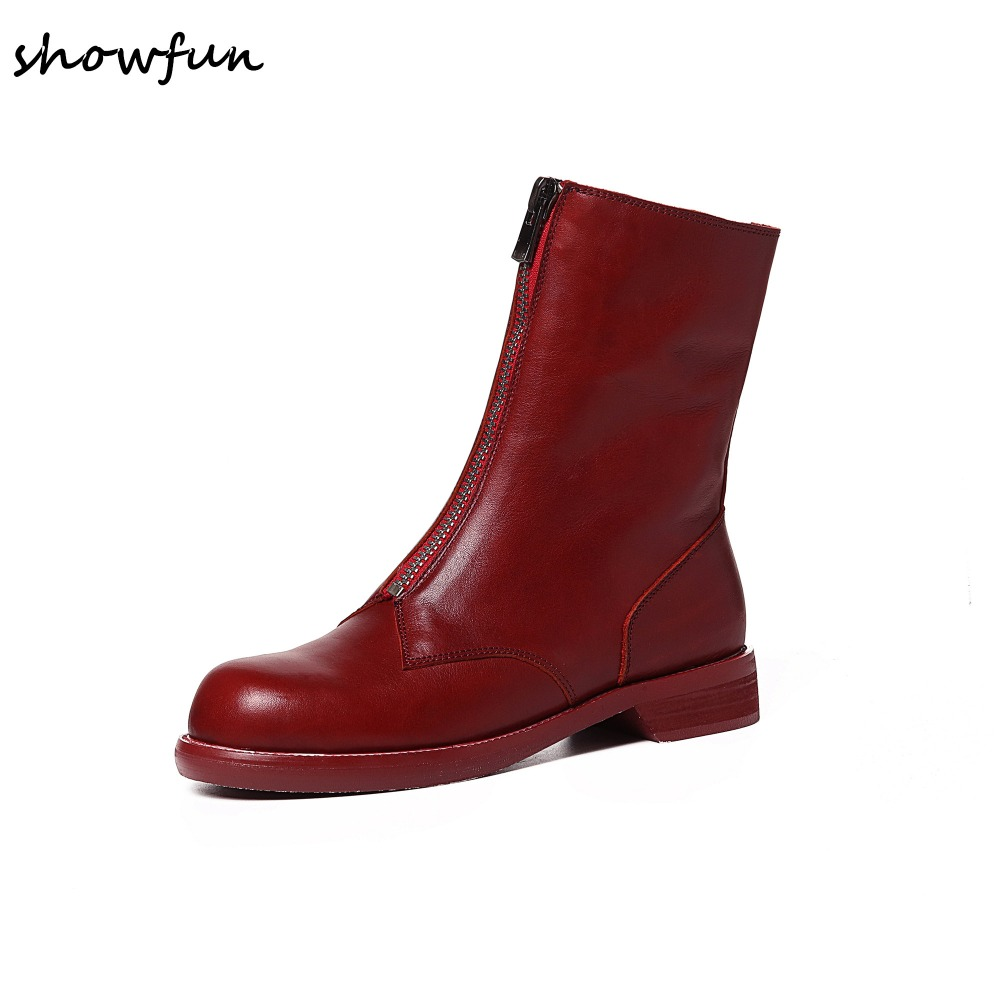3 color size 34-40 women's genuine leather front zip punk Motorcycle boots brand designer retro vintage short booties shoes sale 2017 genuine leather women ranger boots famous designer motorcycle fashion work brand shoes zip front design ankle short booties