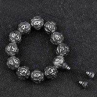 Punk Vintage Style Stainless Steel Buddhism Mantra Bracelets Men Statement Bracelet Male Antique Jewelry