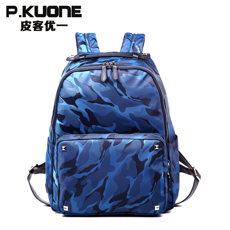 P.KUONE Hot Sell Camouflage Nylon Backpack Luxury Brand School Bag For Teenager New Design High Quality Messenger Shoulder Bag