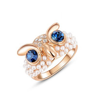 Jewelry Jewelry Austrian Crystal Rose Gold Color Owl Pearl Ring
