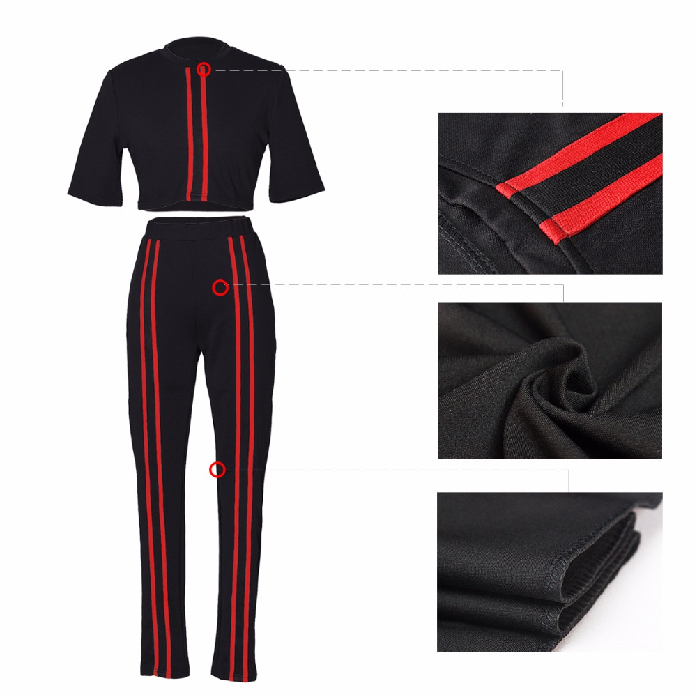 2 Piece Set Bodycon Coveralls Casual Striped Print Short Sleeve Crop Top Long Pant Jumpsuit Women Black Green Hollow Out Rompers