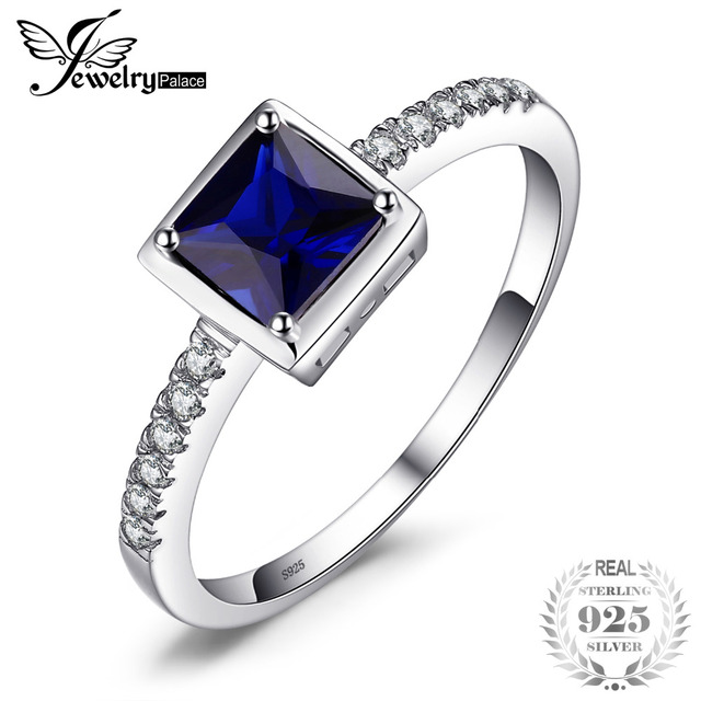 JewelryPalace Created Blue Sapphire Ring 925 Sterling Silver 0.9ct Ring For Women/Girls New Vintage Jewelry Fine Gifts