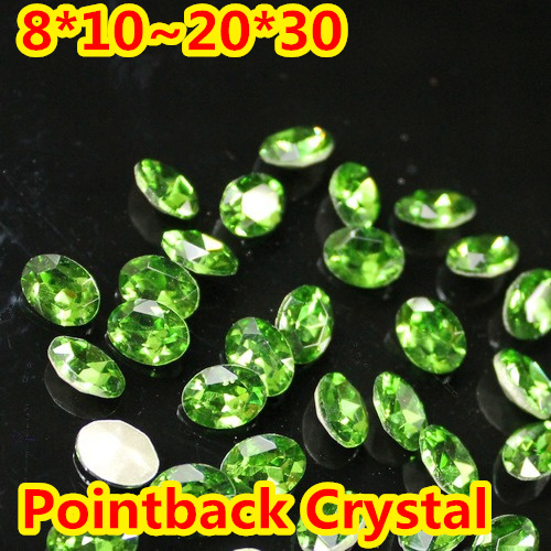 Forma Oval de Cristal Extravagante Stone Point Voltar Vidro verde Pedra Para A Jóia DIY Accessory.10 * 14mm 13*18mm 18*25mm 20*30mm