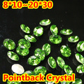 Green Oval Shape Crystal Fancy Stone Point Back Glass Stone For DIY Jewelry Accessory.10*14mm 13*18mm 18*25mm 20*30mm