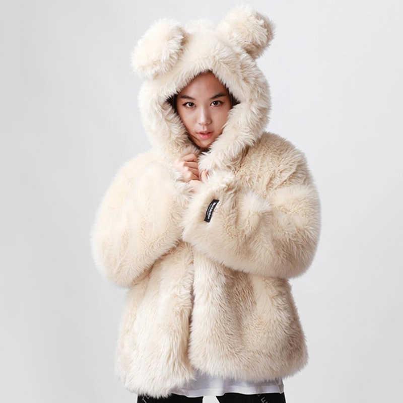 Winter Warm Faux Fur Coat White Women with Rabbit Ear Hood