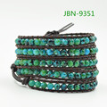 Fashion natural agate Bead Wrap Bracelet for Women and Men Design Handmade multilayer Leather Bracelet Lady Jewelry  JBN-9351