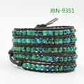 Fashion natural agate Bead Wrap Bracelet for Women and Men Design Handmade multilayer Leather Bracelet Lady Jewelry  JBN-9351
