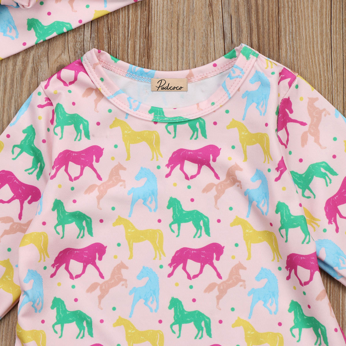 Cute Baby Girls Romper Jumpsuit Long Sleeve Pink Horse Print Kids Rompers Headband Outfits Clothes Summer Autumn 0-24M
