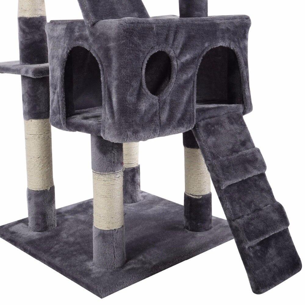 170 см Когтеточка для кошек кровать для домашних животных лазание пост Дерево Игрушка центр деятельности игровой полюс PS5793GR - 5
