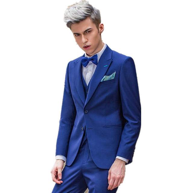 Navy blue suit three piece men show thin wedding the groom suit ...