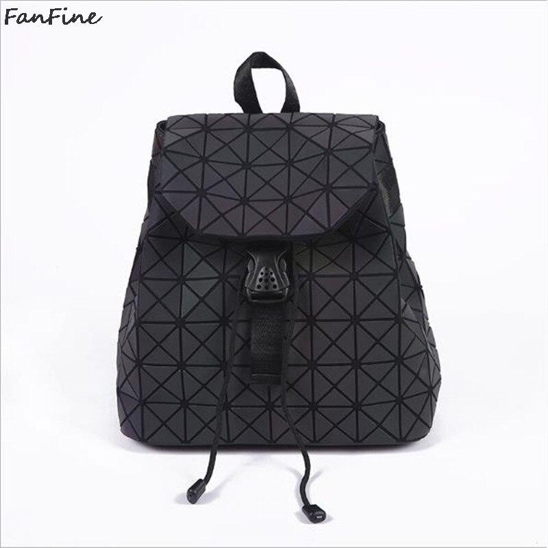 Fanfine Luminous Backpack Women 3d Geometric Lattice Drawstring Backpacks Holographic Ladies Korean Manufacturers Bag