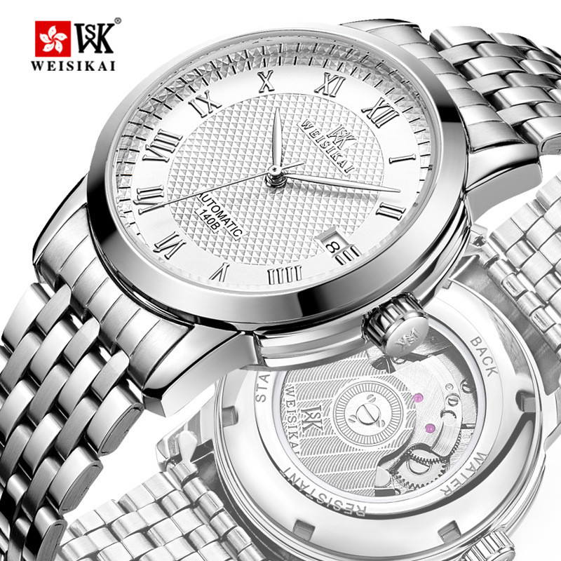 WEISIKAI Watch Men Luxury Waterproof Calendar Traditional Classic Design Business Casual Leather Mechanical Watches