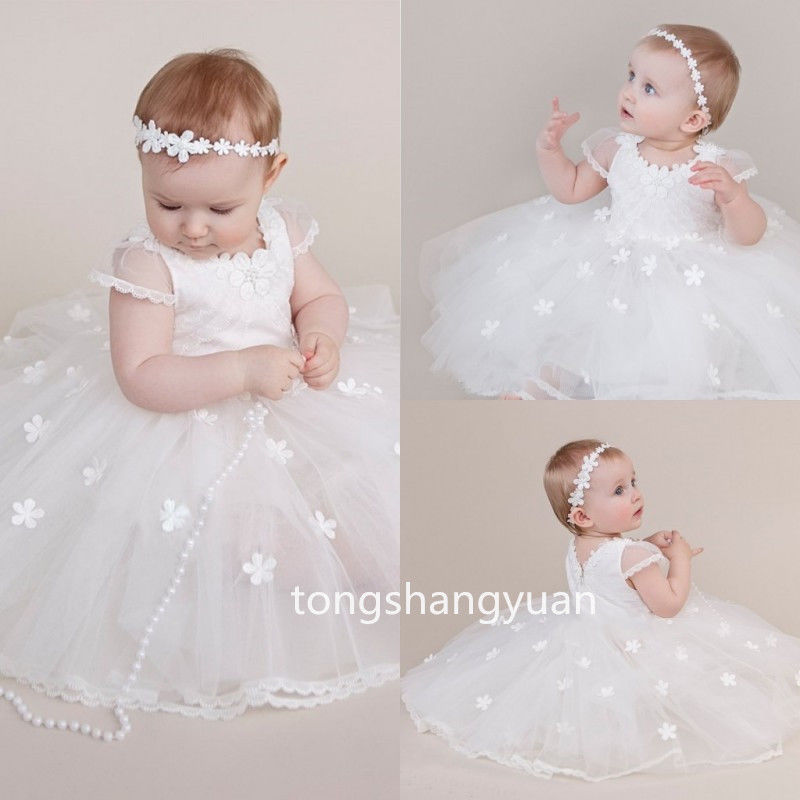 New Baby Summer Baptism Outfit Dress Lace Christening Ball Gown Cap Sleeve Tulle puma бермуды fun td sweat bermudas