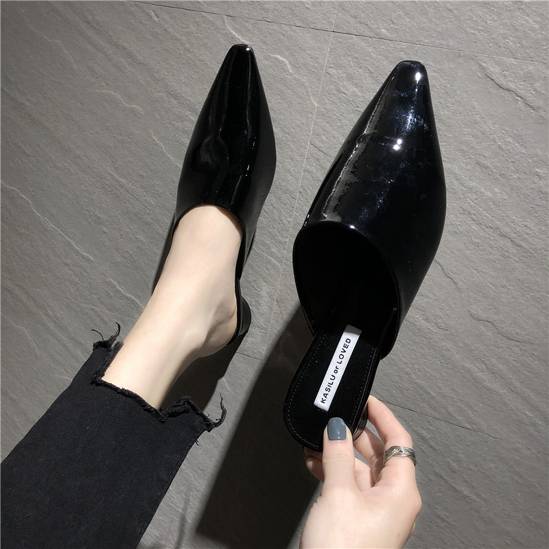 HKCP Baotou slippers women 2019 summer new retro patent leather pointed low with lazy people wear slippers outside C353 in Slippers from Shoes