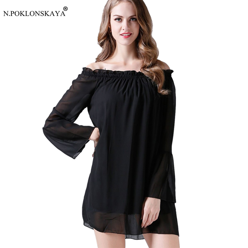 Sexy off Shoulder Beach Dress Long Sleeve Chiffon Ruffles Summer Mini Dresses Slash Neck Club Party Vestidos White Casual Dress