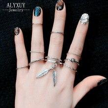 Винтаж Jewelry старинное серебро цвет листьев дизайн палец кольцо 1 компл. = 10 штук подарок для женщин девушки R4085
