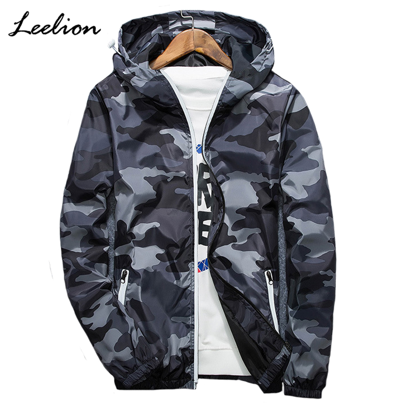 LeeLion 2018 Reflective Camouflage font b Jacket b font Men Zipper Cardigan Hooded Coat Spring Fashion