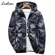 Leelion 2018 Светоотражающие камуфляжная куртка Для мужчин кардиган на молнии пальто с капюшоном Весенняя мода Повседневное Для мужчин Slim Fit ветровка Новый