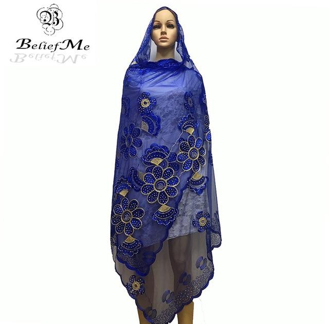 f21b70731daa New African Écharpes, 2019 Africain musulman broderie femmes écharpe, Royal  bleu grande écharpe pour