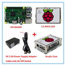 Best price Raspberry Pi 3 Model B Board + 3.5 inch LCD Touch Screen + 5V 2.5A Power Supply(EU&US)