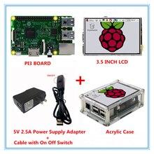 Raspberry Pi 3 Модель B доска + 3.5 дюймов ЖК-дисплей Сенсорный экран + 5 В 2.5a Питание (ЕС и США)